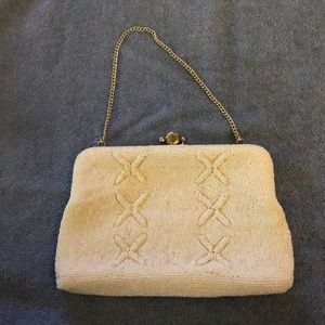 White beaded mini bag